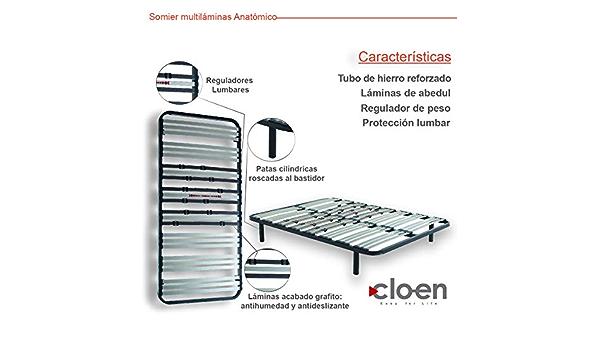CLOEN Somier Multiláminas Anatómico con Patas Metálicas ...