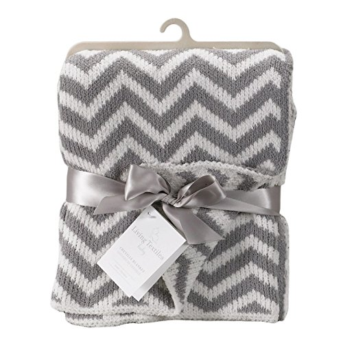 Living Textiles Chenille Baby Blanket. Grey Chevron Ultra-Soft Throw Blanket for Cribs and Strollers (40x30 inch)