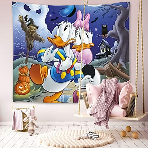 Donald Duck Halloween Hd (Tapestry Bohemia Wall Hanging, Hippie Cute Printing Designed Tapestries Bedding Dorm Donald Duck Halloween Night)