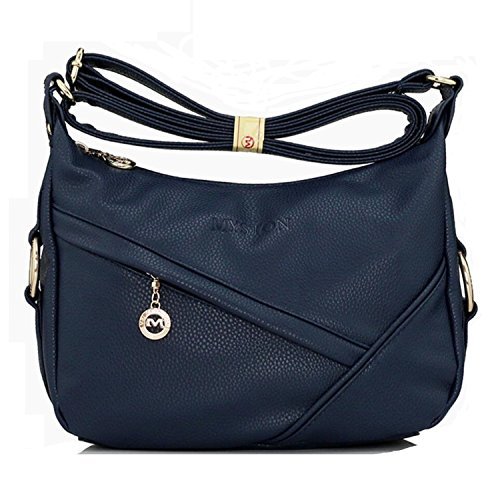Bagtopia Women's Casual Small Hobo Shoulder Bags Water-resistant PU Leather Cross-body Purses for Ladies (Navy) Navy Leather Bag