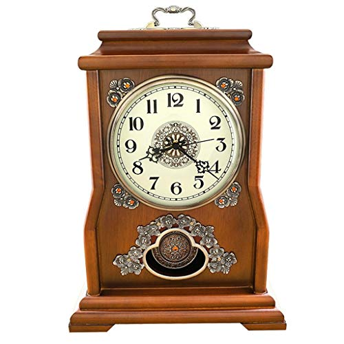 Family Fireplace Watches European Solid Wood Desktop Clock, Decoration ó N of Modern Silent Decorative Night Table Clock Suitable for Living Room Office Bedroom