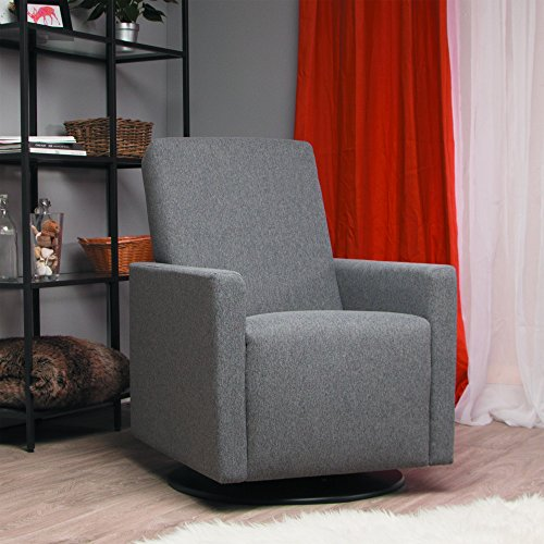 Dutailier Lungo Upholstered Swivel Glider, Dark Grey