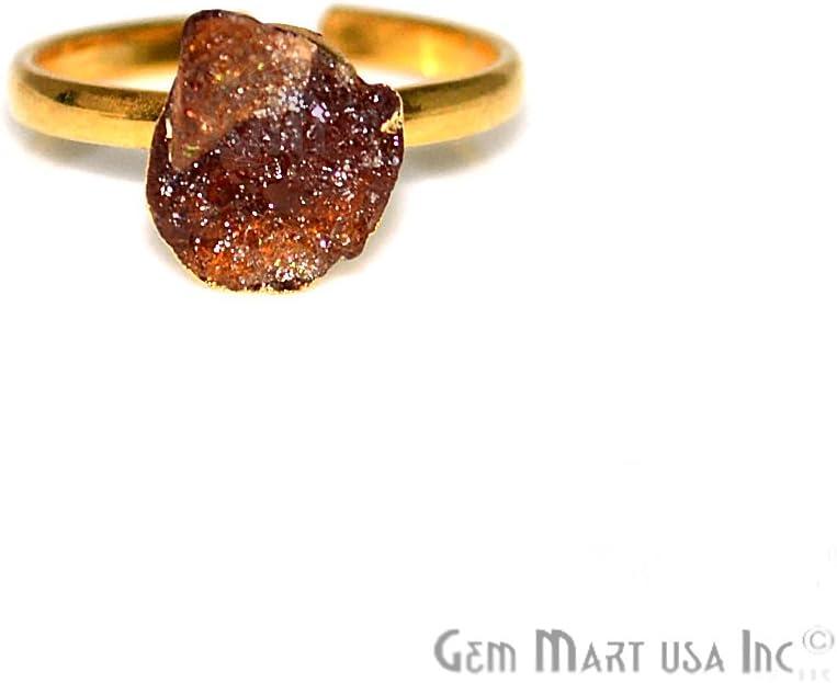 Black Onyx Rough Stone Ring BORG-12019 8x10mm Gold Edged Gemstone Adjustable Band Ring GemMartUSA