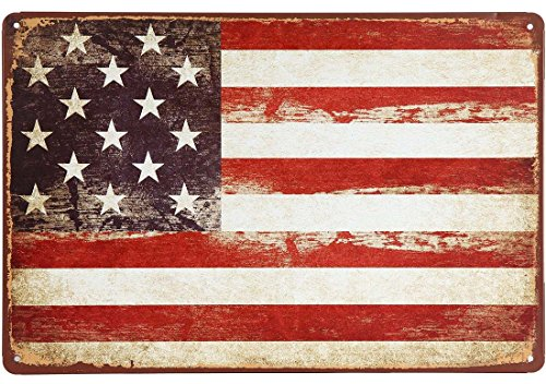 ERLOOD American Flag Logo Retro Vintage Decor Tin Sign (Sign Decor Metal)