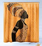 HAIXIA Shower curtain African Woman Indigenous People of Africa Theme Local Woman in Traditional Turban and Dress Decorative