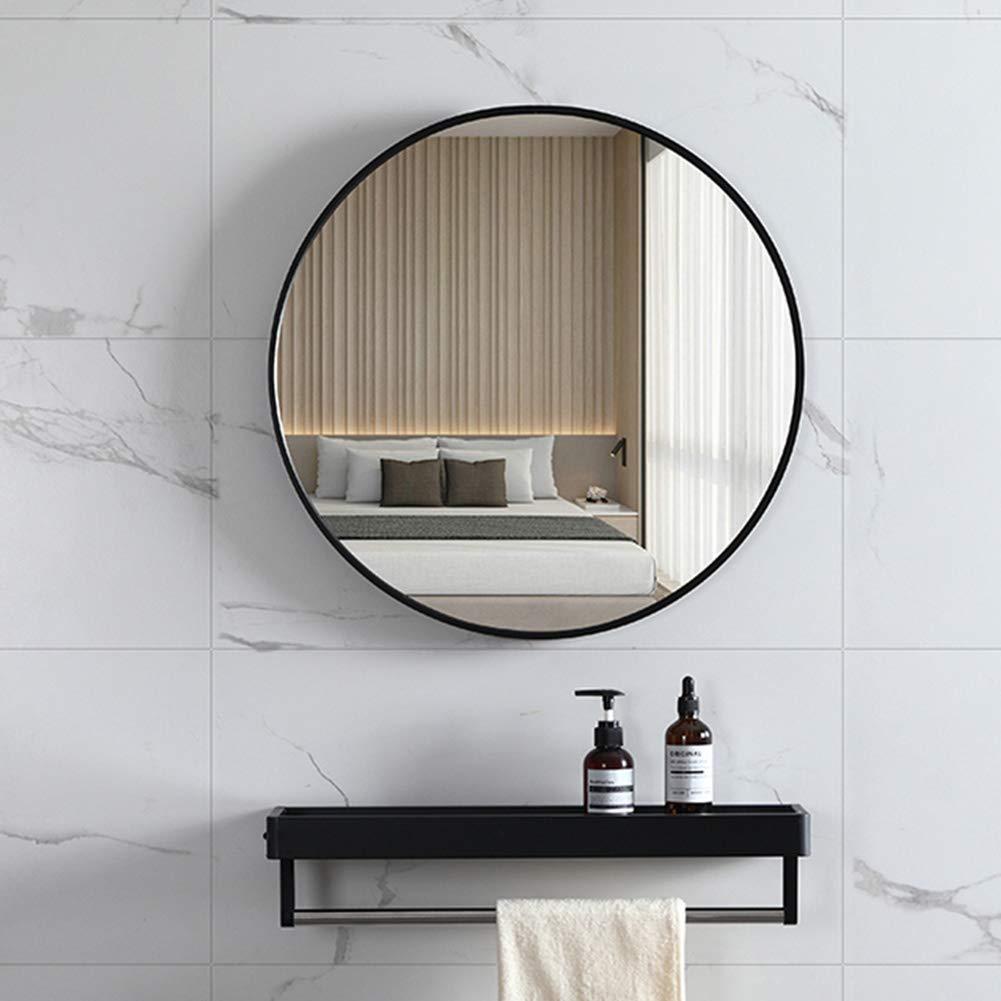 Bathroom mirror Miroir /étag/ère de Rangement Ronde Miroir de Salle de Bain Noir Cadre en Aluminium Miroir Mural Miroir barbier HD antirouille