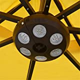 LHY LIGHT Outdoor LED Umbrella Lights Large Size Charging Umbrella Lamp Clip Six Heads Hanging Lamps for Camping and Tent,Warm White