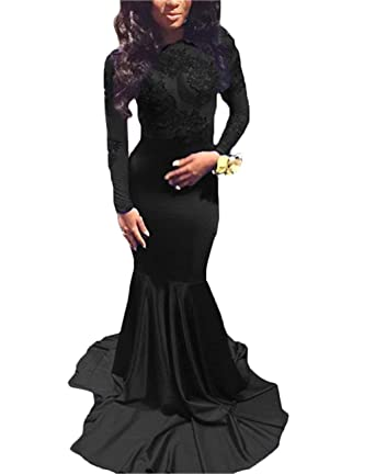 c0ac3be2f33 BridalAffair Sexy Illusion Mermaid Prom Dresses Open Back Long Sleeve  Appliques Evening Party Dresses for Women at Amazon Women s Clothing store