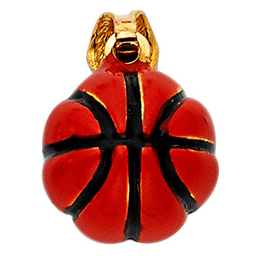 - 14k Yellow Gold Basketball Enamel Charm Pendant