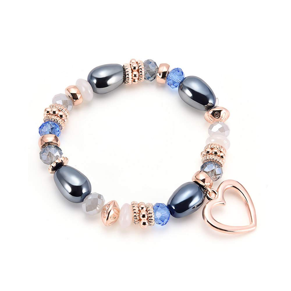 RainBabe Bohemian Bead Bangle Bracelet Crystal Glass Charm Stretch Boho Jewellery for Women (Heart Pattern)