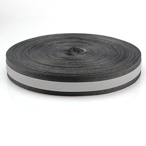Black Silver Reflective Fabric Strip Trim Sew On 20mm x 45m by JINBING