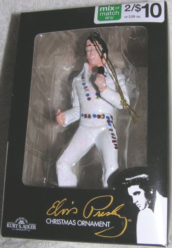 Elvis Presley in White Holding Microphone 4.5