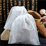 Disposable Drawstring Tea Bags, 50 Pack By Higher Tea. Perfect with Higher Te...