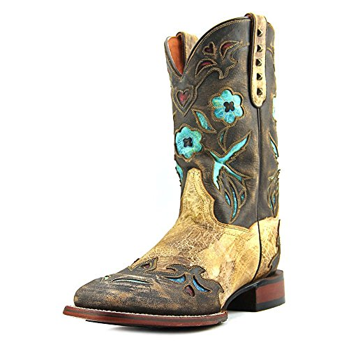 Dan Post Women's Cowboy Certified Bluebird Square Toe Pull On Boots, Brown Leather, 8.5 M