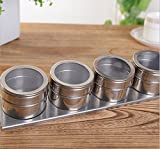 Stainless Steel Magnetic Spice Storage Jar Tins Container With Rack Holder(4PCS)