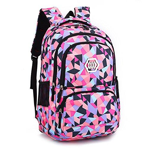 Backpack for Girls Primary School Student Satchel Backpack Book Travel bag Geometric Prints