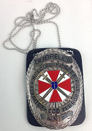 Resident Evil Umbrella Special Forces Unit Police Prop Badge With Badge Holder and -