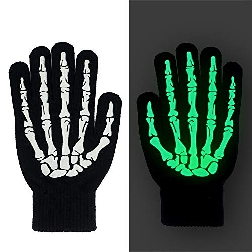 Colonel Pickles Novelties Skeleton Gloves – 3D Glow in The Dark Halloween Costume for Kids Women Men -
