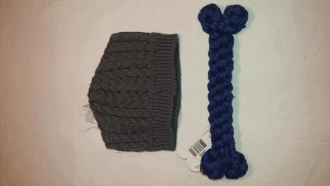 Pet Pack, 2 Dog Knit Hats with Ear Hole, with Chew Toy Bone to Match, Medium to Large Breed Dogs