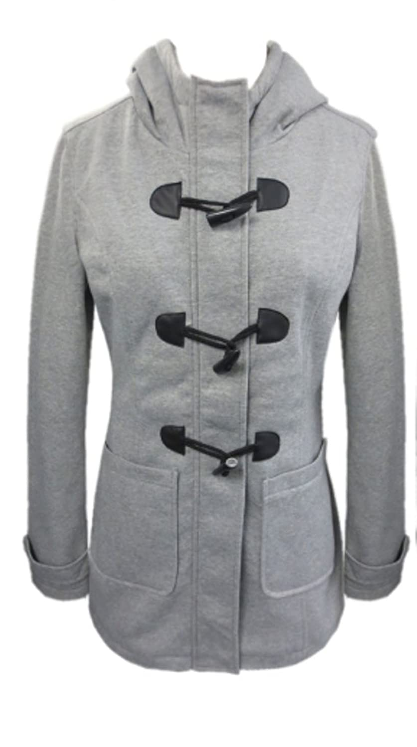 YOKI Women's Heather Grey Hooded Fleece Toggle Jacket Winter Coat ...