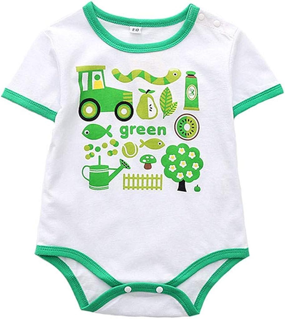 Cuekondy 6-24 Months Toddler Baby Girl Boy Cute Cartoon Printed Romper Bodysuit+PP Pants Summer Clothes Outfits