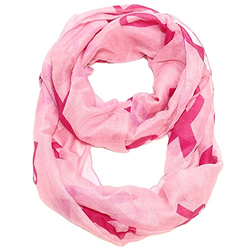 - Falari Women's Pink Ribbon Breast Cancer Symbol Infinity Scarf IF0035-P