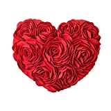 JW 3D Rose Flowers Accent Pillows Decorative Wool Heart Shaped Handmade Cushions for Home Sofa Car Bed Room Office Chair Wedding Travel Decor Pillowcases Girl Gifts 13 x 16 Inch Red