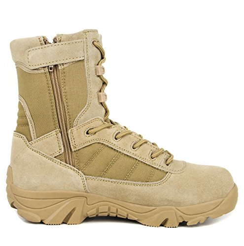 Milforce Men's 8 inch Military Tactical Boots Combat Desert Duty Work Shoes with Side Zipper - stylishcombatboots.com