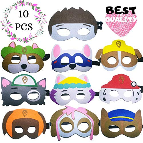 Gazelle'sGoods Paw Dog Patrol Toys and Puppy Masks Party Favors ADJUSTABLE Multiple Sizes for Boys and Girls for Birthdays Dress Up Party (10 Pieces) by GG Party Supplies]()