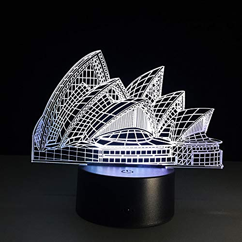 3D Night Light Lamp Illusion 7 Colors Kids Led Touch Remote Control Table Desk Lights Changing Color Birthday Gifts Optical Gift USB Home Decoration Lamps Boys Girls Baby Sydney Opera House