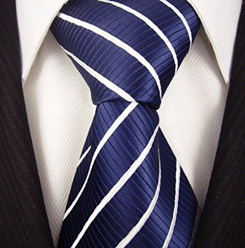 Neckties By Scott Allan - Navy Blue & White Striped Mens ()