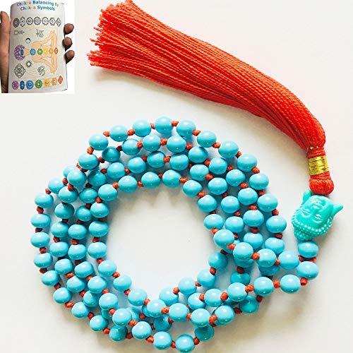 Turquoise Mala Sacred Knotted 108 Mala Beads Healing Crystal Therapy Chakra Balancing Serenity Gift Buddha Head Pendant Boho Blush Minimalist Jewelry Fertility Statement Beaded Blue Necklace