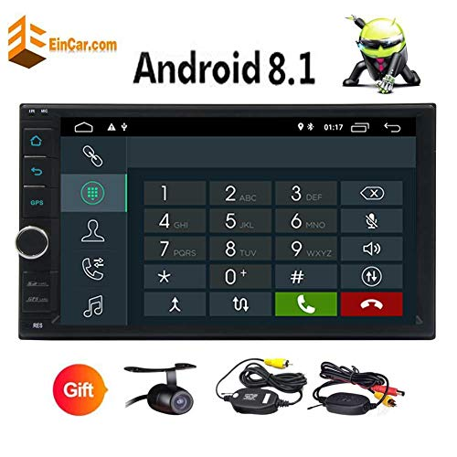 Free Wireless Camera!!! 2 Din Android 8.1 Oreo System Car Stereo 7 Inch Touchscreen Headunit Multi Colorful Button Lights Support GPS Navigation/AM FM Radio/Handsfree Bluetooth/Mirror Link/OBD/USB/SD