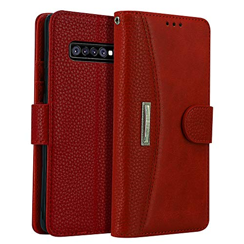 -   Phone Case for Samsung Galaxy S10 Plus, LOKAKA Folding Flip Leather Wallet Cases Protective Cover Strong Magnetic Closure Protector with Card Slots Kickstand (Red, 6.4