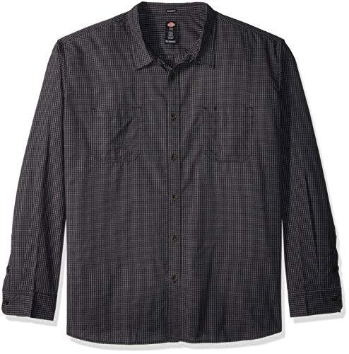 Dickies Men's Long Sleeve Relaxed fit Yarn dye Plaid Shirt Big-Tall, Rinsed Small Black Check, 3X