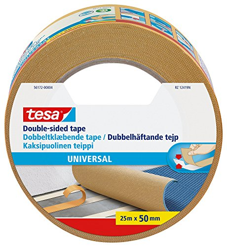 tesa UK Universal Double Sided Adhesive Tape for Fixing Carpets, 25 m x 50...