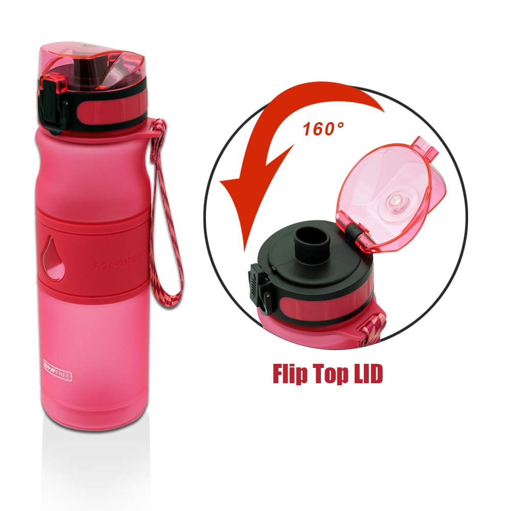 18oz Sport Water Bottle,BPA Free Tritan Plastic with Locking Flip- Flop Lid and Lanyard Handle Strap for Gym Running Outdoors Yoga Cycling Camping