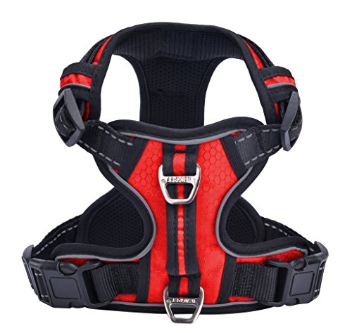 PUPTECK Best No-Pull Dog Harness with Vertical Handle,Calming Adjustable Reflective Outdoor Adventure Pet Vest,Red L ()