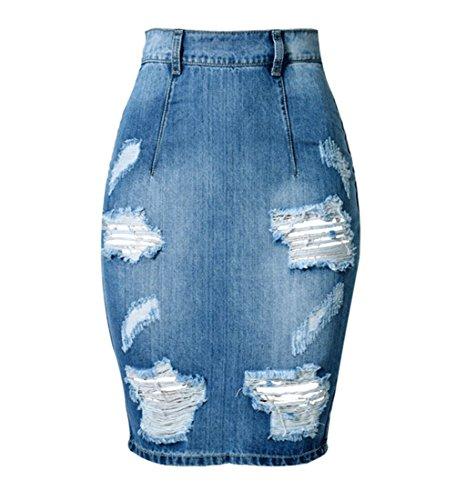 Wincolor Women's High Waist Ripped Hole Distressed Denim Pencil Skirt Knee ()