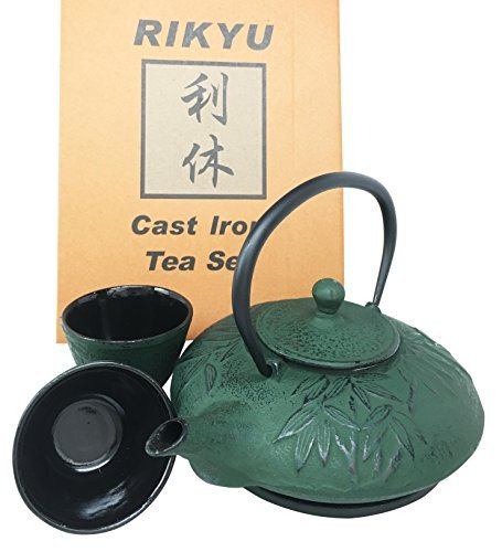 (Japanese Evergreen Bamboo Forest Green Heavy Cast Iron Tea Pot Set With Trivet and Cups Set Serves 2 Beautifully Packaged in Teapot Gift Box Excellent Home Decor Asian Living Gift Housewarming)