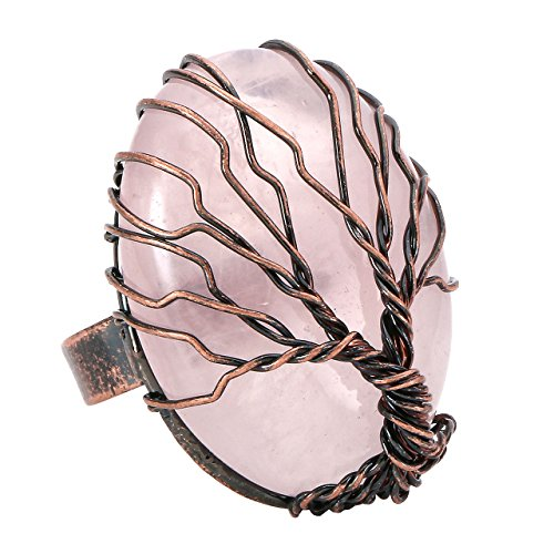 (Top Plaza Handmade Retro Vintage Copper Wire Wrapped Tree of Life Oval Rose Quartz Healing Crystal Adjustable Ring Bronze Band Size 6 7 8)