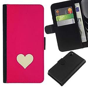 All Phone Most Case / Oferta Especial Cáscara Funda de cuero Monedero Cubierta de proteccion Caso / Wallet Case for Sony Xperia Z3 D6603 // Minimalist Pink White Valentines