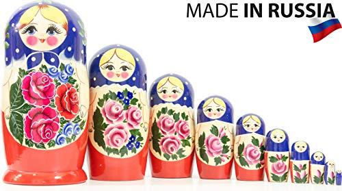 Russian Nesting Doll - Semenovo - Hand Painted in Russia - Traditional Matryoshka Babushka (10.25``(10 Doll in 1) Red - Blue)