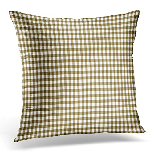 Golee Throw Pillow Cover Blue Abstract Brown Gingham Pattern Colorful Check Checkered Decorative Pillow Case Home Decor Square 20x20 Inches Pillowcase (Coral Colored Napkins Paper)