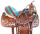AceRugs 14 15 16 17 Western Blue Show Barrel Racing Crystal Racer Leather Horse Saddle Trail Pleasure & TACK Set