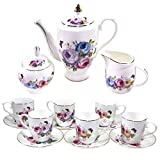 tea pitcher chinese - Premium 18 Piece Porcelain Tea Set - Pitcher and Lid, 6 Cups and Saucers, Creamer Pitcher, Covered Sugar Bowl and Spoon - Lavender, Pink, Blue and Yellow Peony Floral Pattern with Gold Trim, Serves 6