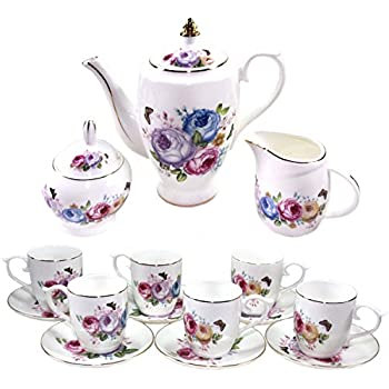 Premium 17 Piece Porcelain Tea Set - Covered Pitcher, Six Cups and Saucers, Creamer Pitcher and Covered Sugar Cup - Beautiful Lavender, Pink, Blue and Yellow Floral Pattern with Gold Trim, Serves 6