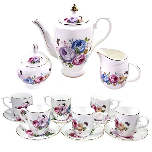 Premium 18 Piece Porcelain Tea Set - Pitcher and Lid, 6 Cups and Saucers, Creamer Pitcher, Covered Sugar Bowl and Spoon - Lavender, Pink, Blue and Yellow Peony Floral Pattern with Gold Trim, Serves 6