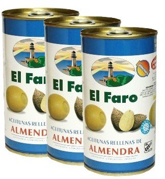 El Faro Olive Stuffed with Almond 12 oz Imported from Spain Pack of 3