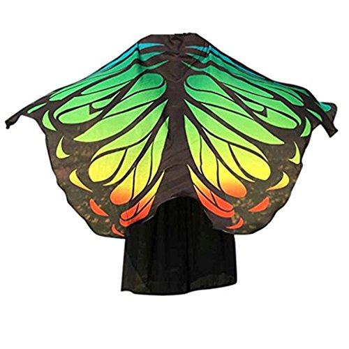 VESNIBA Soft Fabric Butterfly Wings Shawl Fairy Ladies Nymph Pixie Costume Accessory (197125CM, Green -4) ()